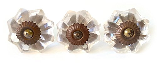 Clear Glass Flower Drawer Knob - Decorative Knob (Pack of 3 Drawer Pulls)
