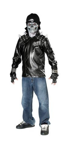 [Dead City Choppers Child's Metal Skull Biker Rider Costume, Medium] (Biker Kid Costume)