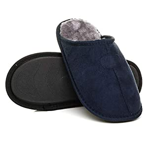 Ajvani Mens Flat Winter Fur Lined Memory Foam Gift Mules Slippers House Shoes Size