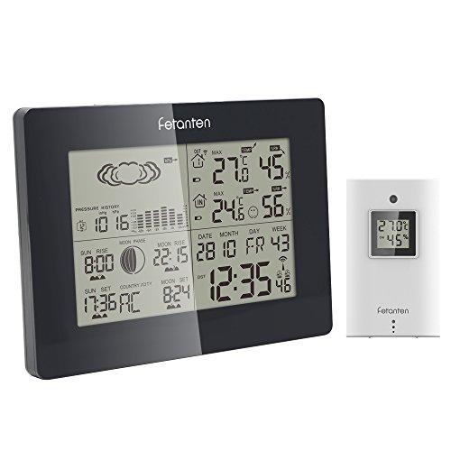 Fetanten Drahtlose Wetterstation, Digital LCD Funkwetterstation Innen Außen Thermometer Hygrometer Vorhersage Temperatur Feuchte Mondphase Funk Wecker mit Außensensor