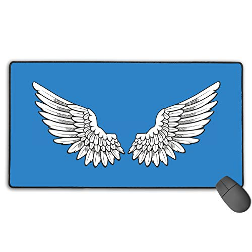 (GGlooking Gaming Mouse Mat Angel Wings Large Computer Pad Non-Slip Keyboard Desk Accessories,Office & School Supplies)