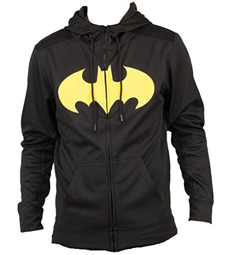 DC Comics Batman Pieced Poly Adult Black Hoodie Sweatshirt -