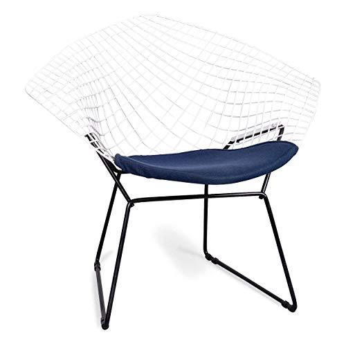 Knoll International Diamond Metall Sessel Weiß Stoff Stuhl #6747
