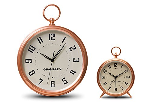 Timelink Crosley Deco Finial Alarm and Wall Clock Set, Rose Gold For Sale