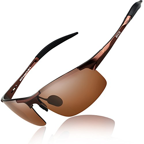 DUCO Mens Sports Polarized Sunglasses UV Protection Sunglasses for Men 8177s(Brown Frame Brown Lens)