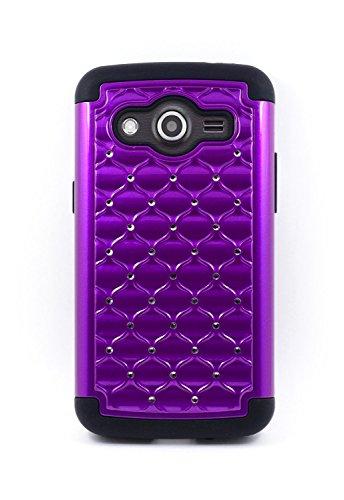 Microseven® Samsung Galaxy Avant G386T Case Cover, Defender Bling Hybrid Gel Protector Diamond Hybrid Case Cover +1 Touch Screen Stylus with Microseven Packaging (Studded Diamond Purple Black) (Studded Samsung Avant Case)