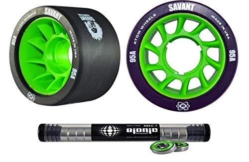 Atom Savant Skate Wheels with Bionic Bearings 8mm Full Set of 8 Black 95A ()