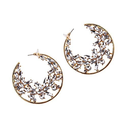 - mecresh Fashion Earrings Hoops, Crystal Butterfly Hoop Earrings for Womens Girls in Black Gold Silver