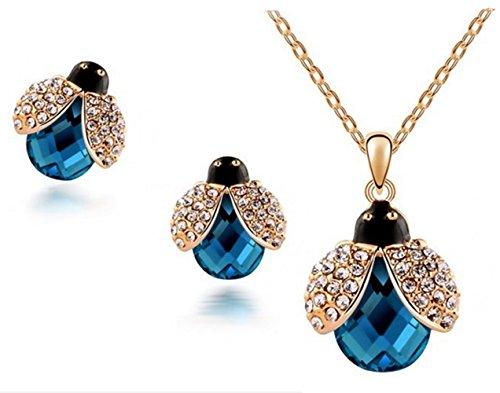 Adorable azul oscuro cristal Lucky ladybugn colgante collar pendientes conjunto para regalo, J003