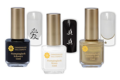 Stamping Lack Schwarz Weiss Gold - im 3.er Sparpack je 12ml