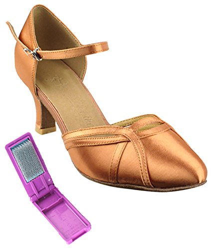 Very Fine Ballroom Latin Tango Salsa Dance Shoes for Women SERA3540 2.5 Inch Heel + Foldable Brush Bundle Tan Satin