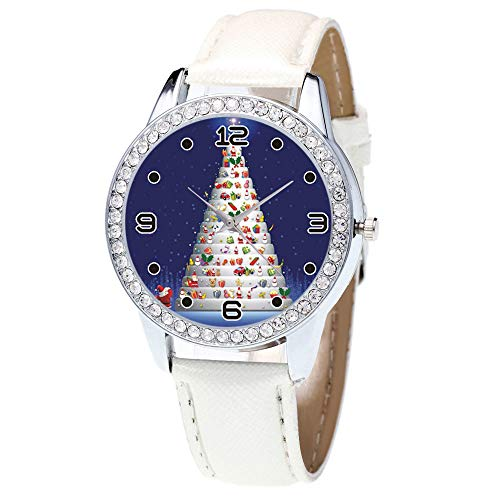 Womens Watch Diamonds 20 (Pausseo Unisex Women Men Christmas Diamond Leather Band Quartz Vogue Wrist Watch Belt Casual Santa Claus Boys Girls Crystal Wrist Watch Round Classic Ladies Female Male Sport Gift Watch)