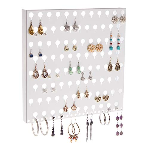 Angelynn's Stud Earring Holder Organizer Display Wall Mount Hanging Closet Jewelry Storage Rack, Sariea White