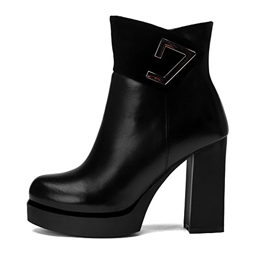 High Black Boots AgooLar Materials Round Toe Closed Piece Heels Top Blend Low Women's metal qUFxwvPUX