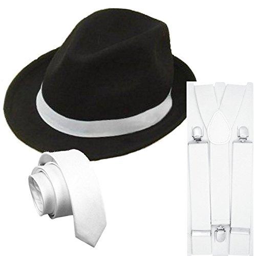 [Star55 Men's Gangster Pimp Mobster Moll Costume Hat Tie Brace Hat Brace Tie One Size Fits All Black Hat, White Braces &] (Male Mobster Costumes)