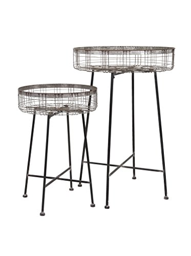 IMAX 65340-2 Pitzer Round Wire Plant Stands (Set of 2)
