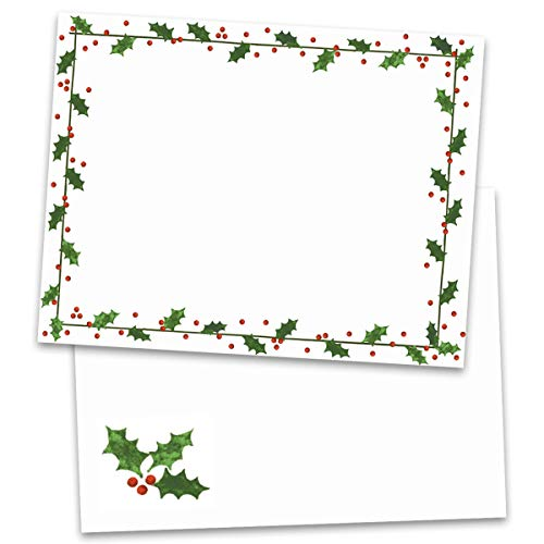 Holly Border Postcards, Standard Size, 100 Count (Paper Christmas Border Printable)