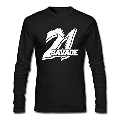 Custom Black 21 Savage Logo Men's Long Sleeve T-Shirt