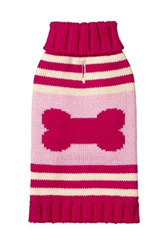 Pink Striped Dog Sweater (Fab Dog Knit Turtleneck Dog Sweater Striped Bone, Hot Pink/Pink, 8