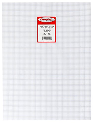 Clearprint 1000H Design Vellum Sheets with Printed Fade-Out 4x4 Grid, 16 lb, 100% Cotton, 18 x 24 Inches, 10 Sheets/Pack, Translucent White (10204222)