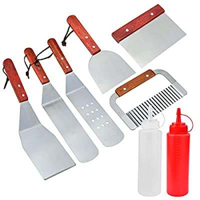 Yolyoo 8Pc BBQ Griddle Accessories Kit,Heavy Duty Stainless Steel Professional Grade Grill Griddle BBQ Tool Kit for Flat Top Cooking Camping Tailgating