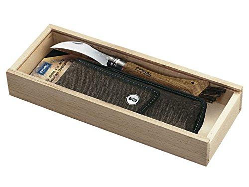 Opinel mushroom knife, Oak wood, Wild boar bristles, Canvas Etui in wooden box