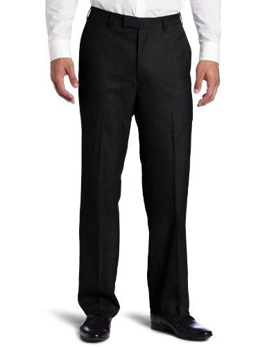 Savane Men's Sharkskin Flat Front Dress Pant, Black, 34x32