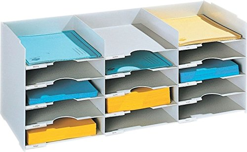 PaperFlow 26 1/2-Inch Stackable Horizontal Desktop Organizer, 15 Compartments, Grey (531.02)
