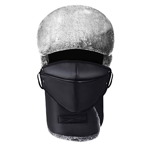 - Winter Trapper Fur Hat, Men Women Warm Leather Ushanka Russian Style Hat, Bomber Ear Flaps Trooper Face Mask Ski Cap Black
