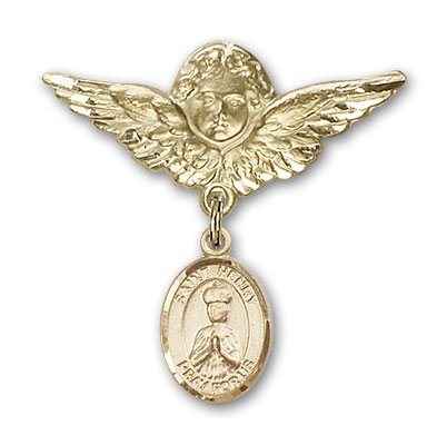Religious Obsession Gold Filled Baby Badge with St. Henry II Charm and Angel with Wings Badge Pin