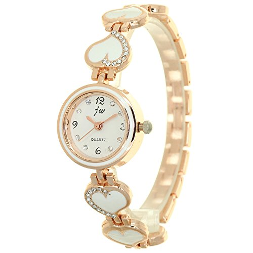 Womens Analog Watch with Gold Tone Case Rhinestone Dial Heart Shape Band Watch Jewelry Clasp Closure Fashion Girls Timepiece Lovers Gifts from TimeMax