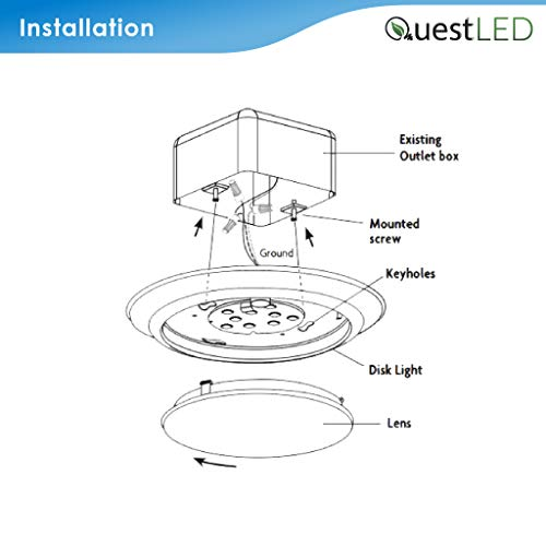 5/6'' Inch LED Slim Cusp Disk Light with 4'' J-box AC Technology (20 Pack) 15W; 120V; CRI>90; Beam Spread 120; 1,000 Lumens; Dimmable; Energy Star and Intertek Listed; (Day Light 5000K) by Quest (Image #4)