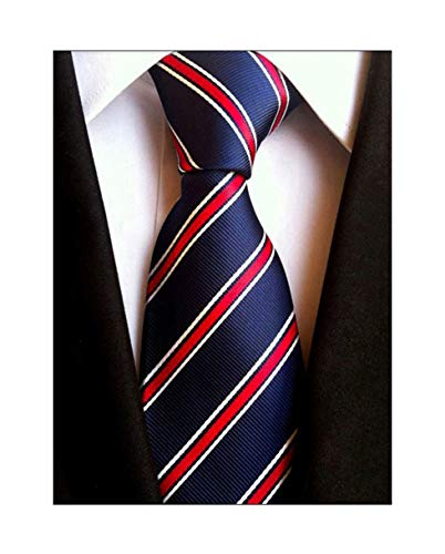 (Elfeves Men's Modern Striped Patterned Formal Ties College Daily Woven Neckties (One Size, Navy Red) )