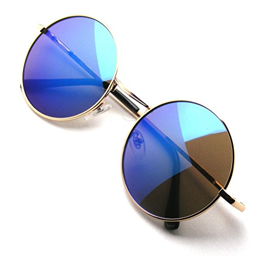 John Lennon Sunglasses Round Shades Gold Frame Mirror Lenses Retro (Gold Blue, - Lennon Glasses John Hippie