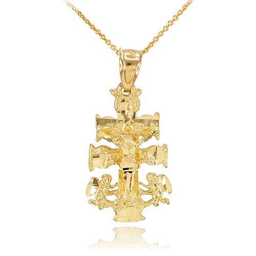 Collier Femme Pendentif 14 Ct Or Jaune Caravaca Crucifix Croix Charme (Livré avec une 45cm Chaîne)