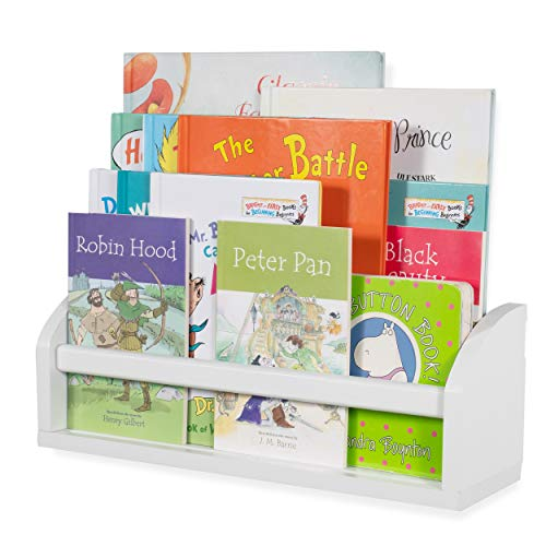 Wallniture Lissa Floating Shelf, White Wood Book Rack for Wall Display and Storage]()