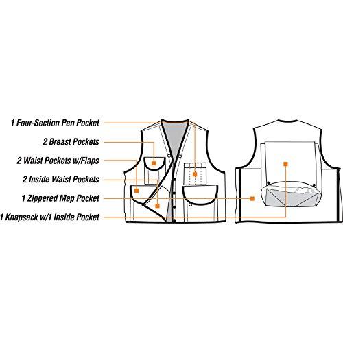 JIM-GEM Pro 10-Pocket Cotton Army Duck Cruiser Vest, X-Large, 43-46, Orange by Jim Gem (Image #3)