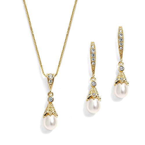 Mariell 14K Gold Wedding Necklace & Earrings Jewelry Set with Freshwater Pearl for Bridesmaids & Brides