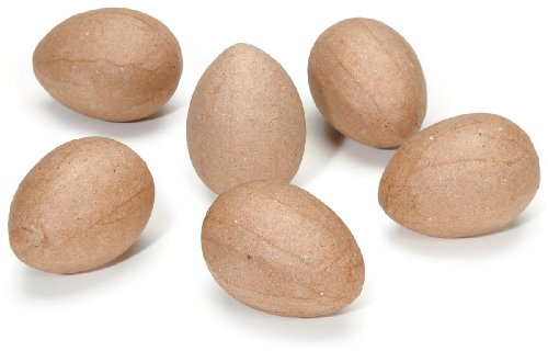Darice 6-Piece Paper Mache Eggs, 2.5-Inch