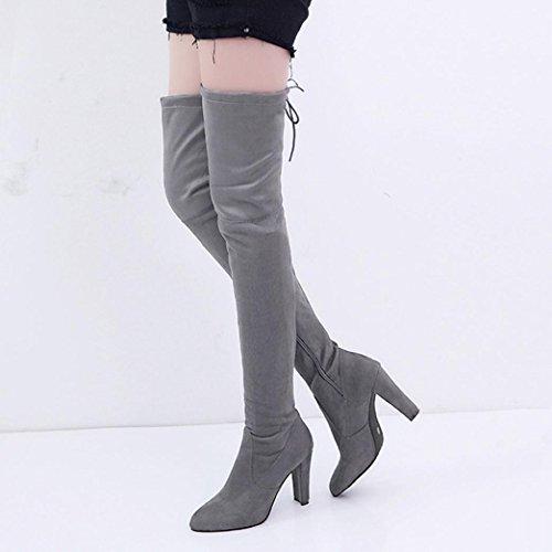 OverDose Damen Slim Matte Leder Feste Farbe Stretch Dünne Hohe Stiefel Overknee Stiefel Absatz Schuhe B-Grau