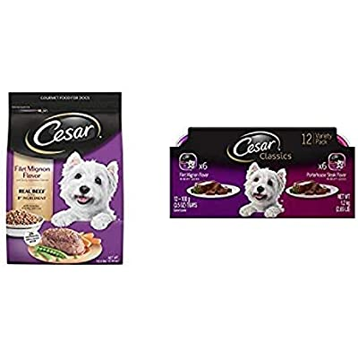 Cesar Small Dog Food Variety Pack With 5 Lb Bag Of Filet Mignon Dry Food And 24 Trays Of Beef Variety Wet Food