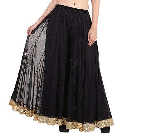 - Shararat Women's Palazzo Pants Net Loose Flared High Waist Sharara Trouser