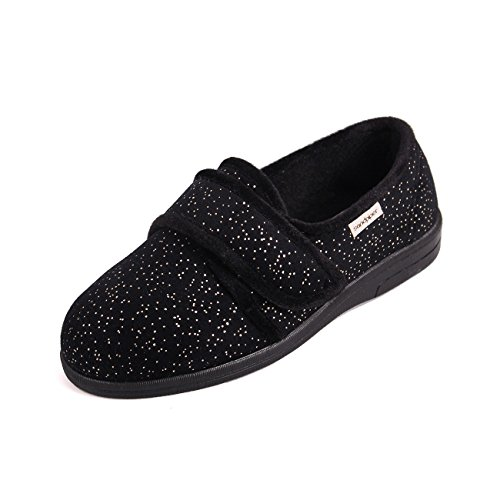 Wide Ladies Black Sandpiper 4e Sparkle Slippers Extra Sophie Fitting 6e qvWp4Z6xw
