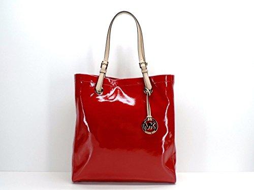 Michael Kors Jet Set NS Tote Shoulder Bag Handbag Red Patent Leather - Michael Kors Patent Tote