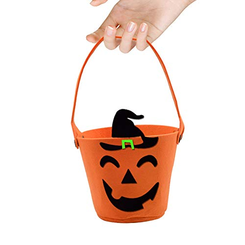 (Trick or Treat Bags Halloween Candy Bags Pumpkin Candy Hand Bags Felt Bags with Handle for Kids Halloween Costume Party)