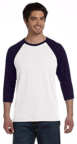 - Bella + Canvas Unisex 3/4-Sleeve Baseball T-Shirt, 2XL, WHITE/NAVY