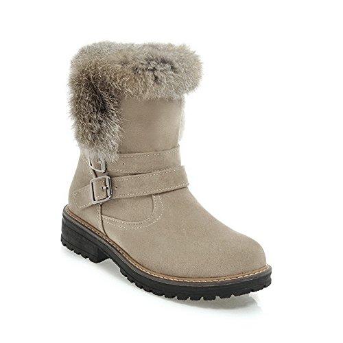 BalaMasa Womens Retro Buckle Tassels Snakeskin Boots ABL10258 Beige wQnIe6kAZb