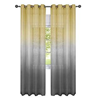 GoodGram 2 Pack Semi Sheer Ombre Chic Grommet Curtain Panels   Assorted  Colors (Yellow/