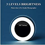 Selfie Ring Light - Easy Clip On 3 Levels of Brightness with Rechargeable (Battery) for iPhone - Samsung - iPad.Black