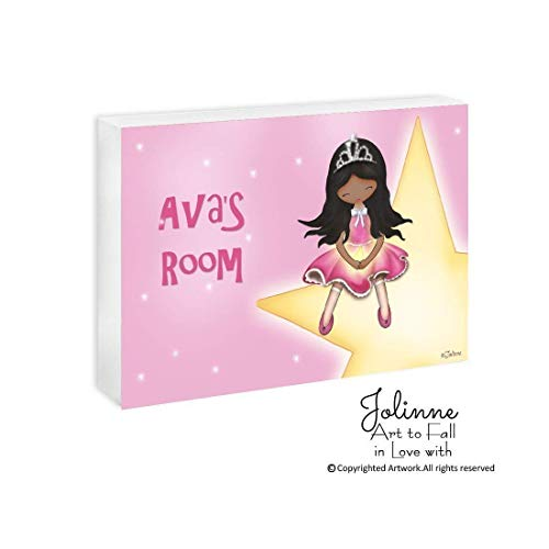 African American Girls Name Plaque Bedroom Door Sign Princess Room Baby Nursery Customized Hair and Skin Color 5